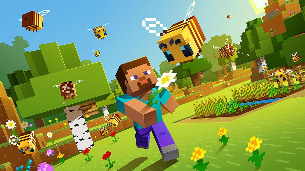 Ilustração de Minecraft mostrando o personagem principal segurando uma flor para uma abelha em um campo verdejante e quadrado