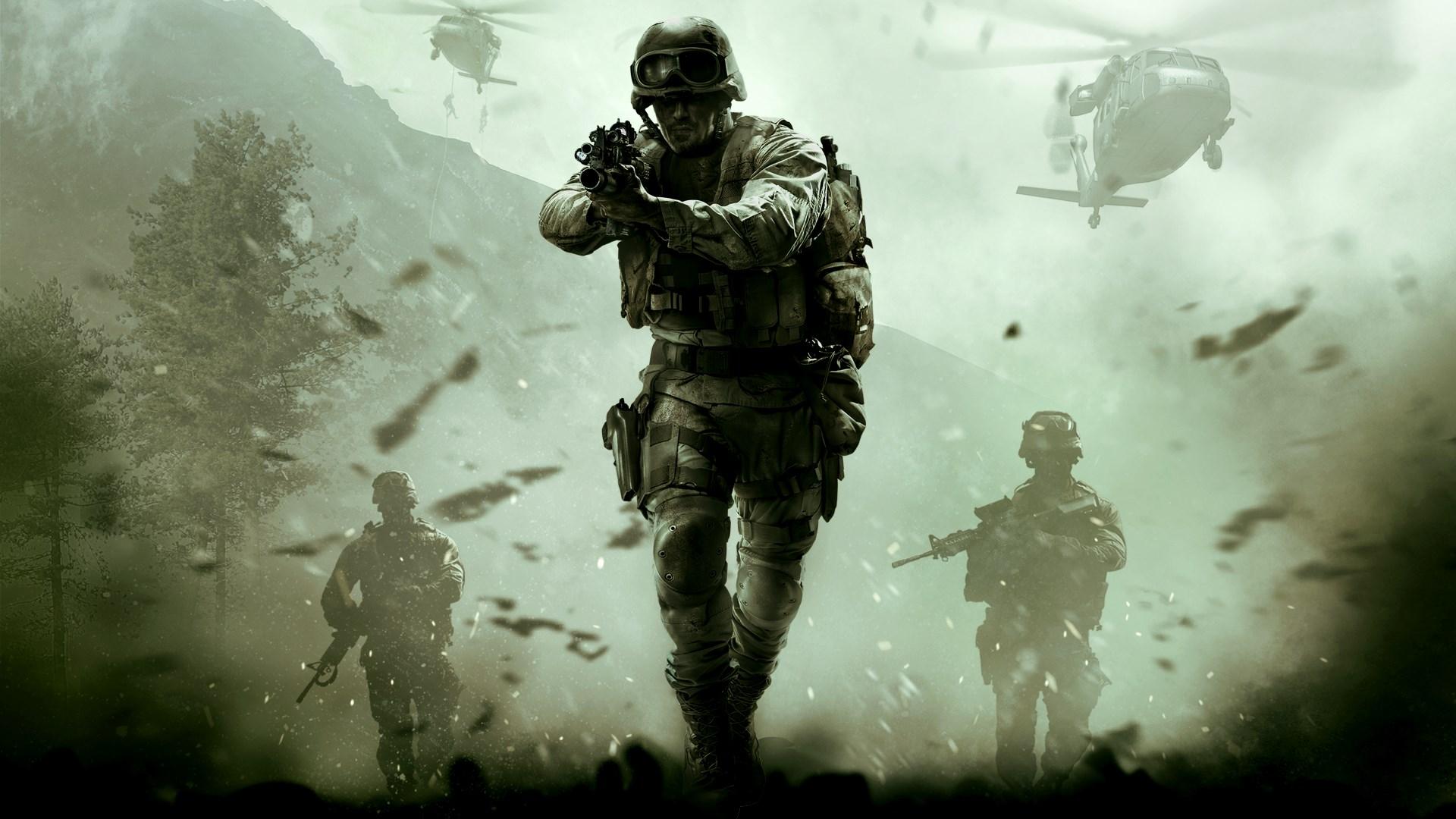 Ilustração de Call of Duty mostrando soldados com fuzis e helicópteros