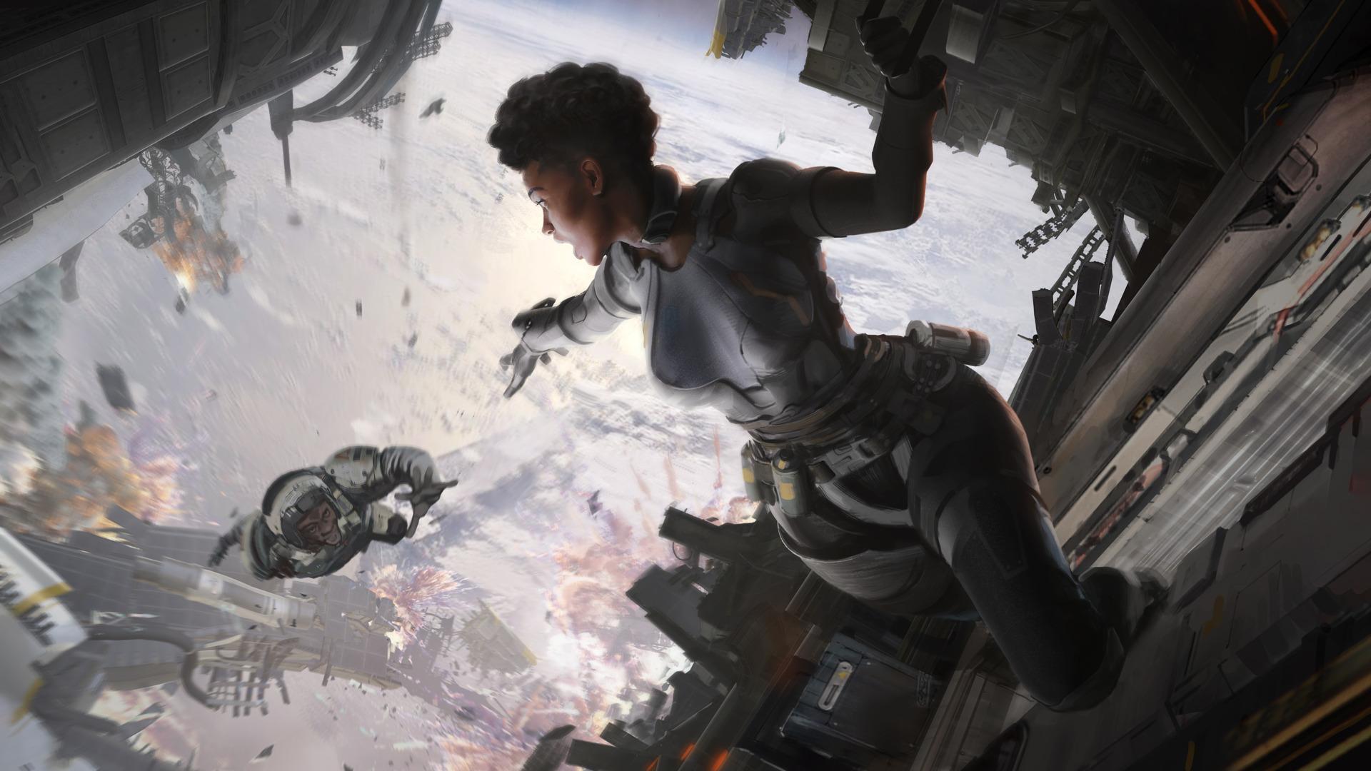 Ilustração de Apex Legends mostrando um personagem caindo de uma nave espacial, com outra estendendo a mão para tentar segurá-lo