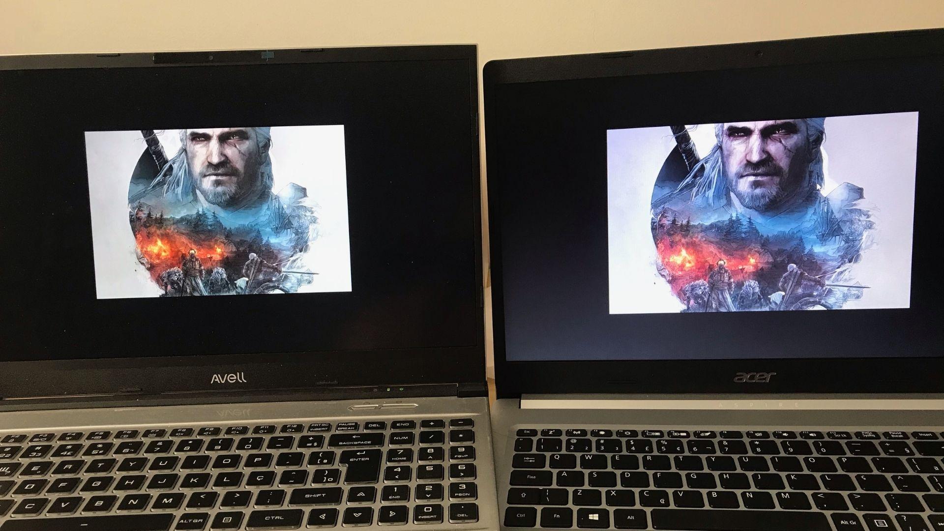 A mesma imagem fica com cores muito mais vivas no notebook Full HD com painel IPS à esquerda, quando comparado ao Acer Aspire 5, à direita (Foto: Guilherme Toscano)