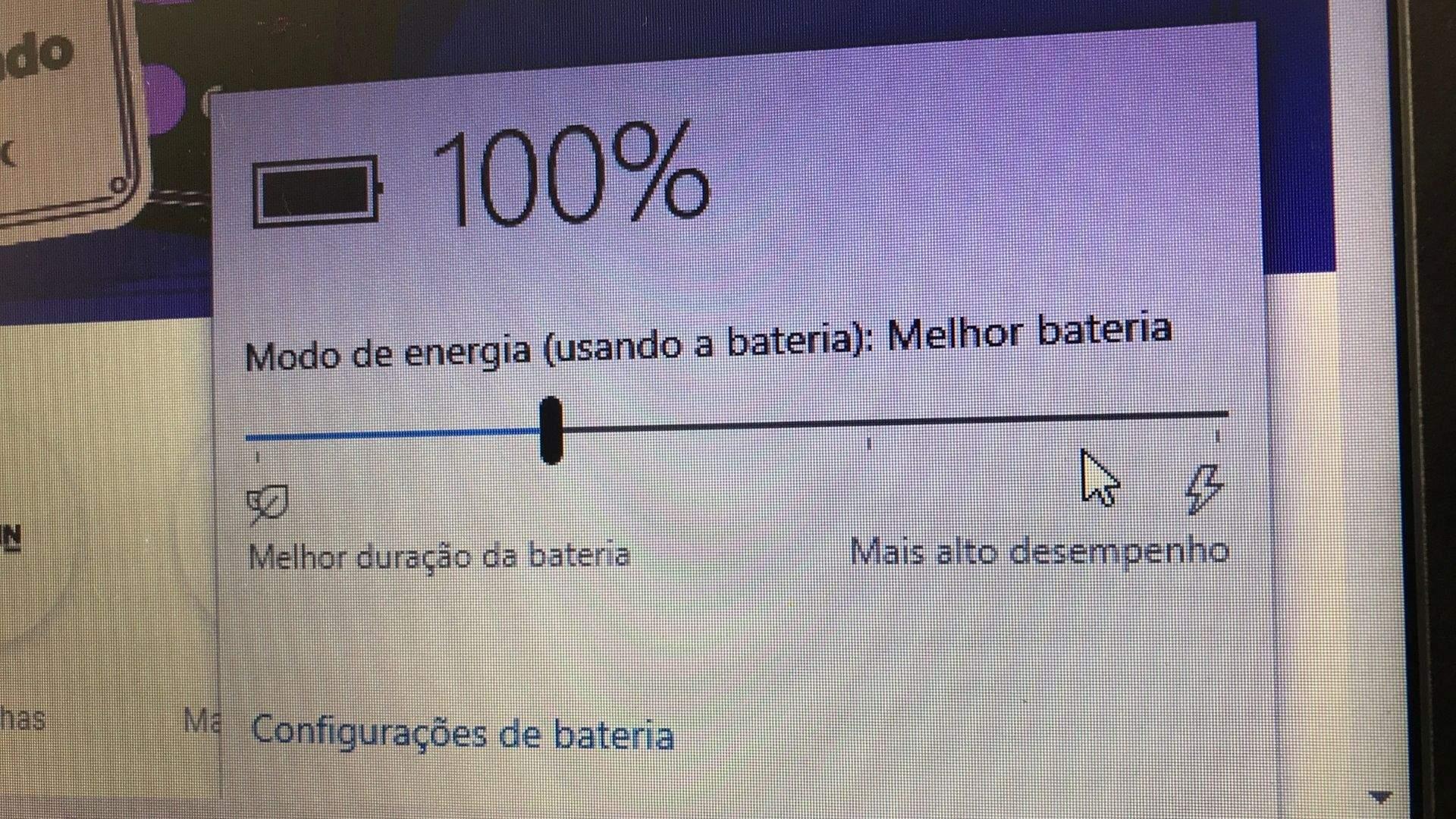 Você pode configurar se quer o notebook com foco em economia de bateria ou desempenho (Foto: Guilherme Toscano)