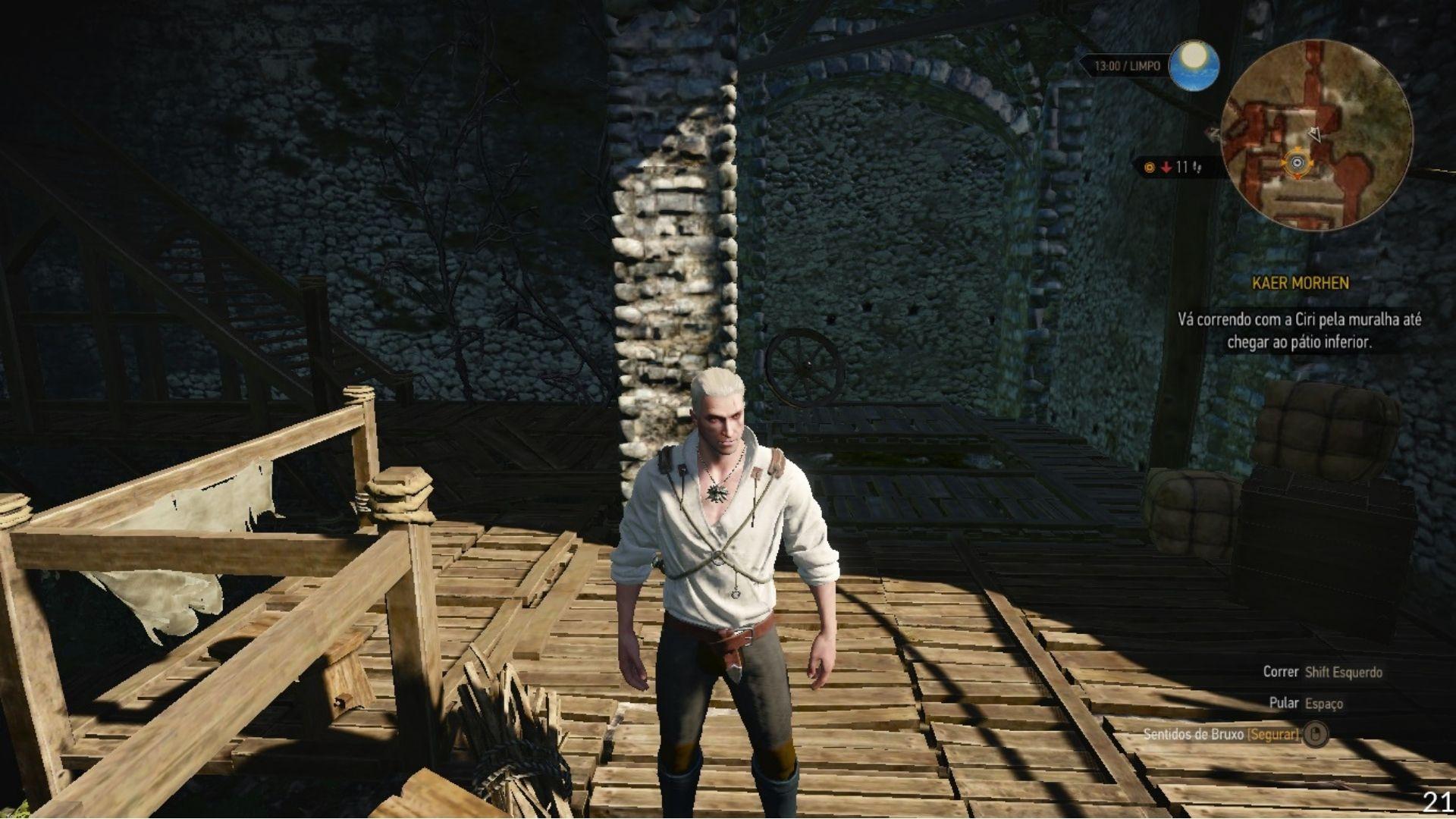 The Witcher 3 na qualidade mais baixa dos gráficos rodou a aproximadamente 20 FPS (Reprodução: Guilherme Toscano)