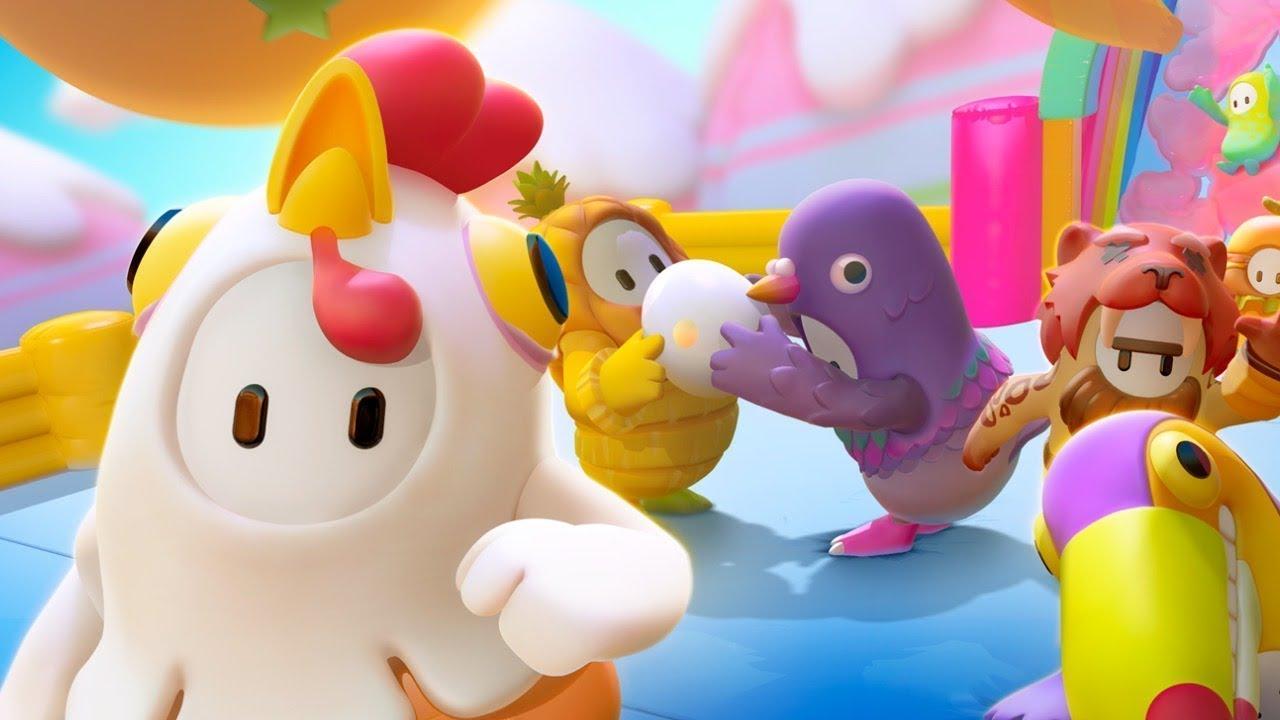 Ilustração do jogo Fall Guys mostranso seus personagens em diversas roupas e um cenário super colorido