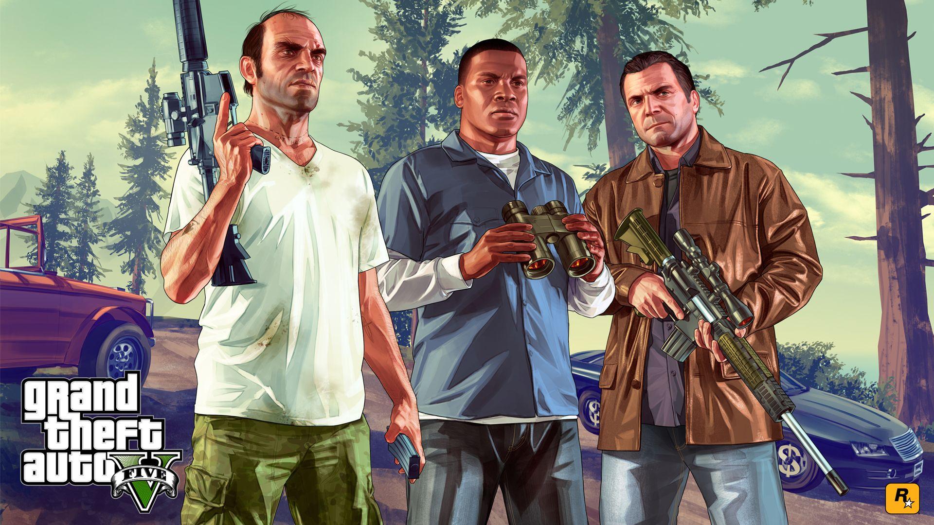 Ilustração de GTA V com os três protagonistas armados. Sua versão online é um dos jogos multiplayer mais lucrativos da história