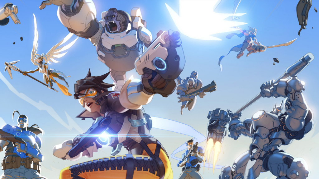 Animação do jogo Overwatch, mostrando seus diversos personagens em combate