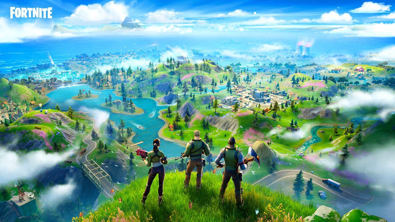 Ilustração de Fortnite mostrando três personagens observando o campo de batalha