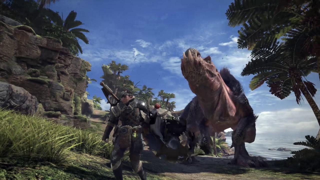 Ilustração de Monster Hunter World, mostrando um caçador do game encarando um monstro parecido com um dinossauro