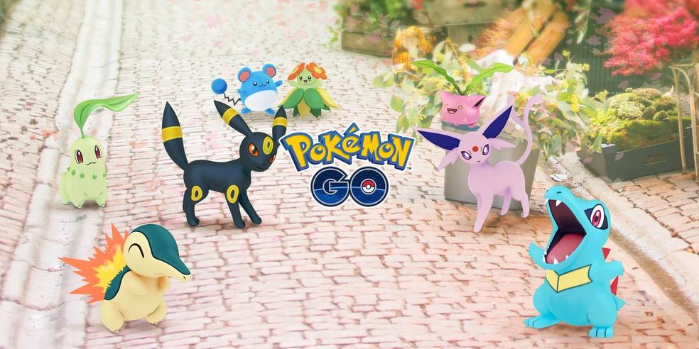 Ilustração de Pokémon Go com a logo no centro e os monstrinhos da franquia em volta