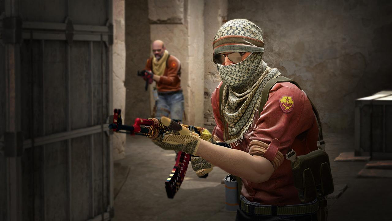 Ilustração de CS:GO com dois personagens armados e de uniforme vermelho