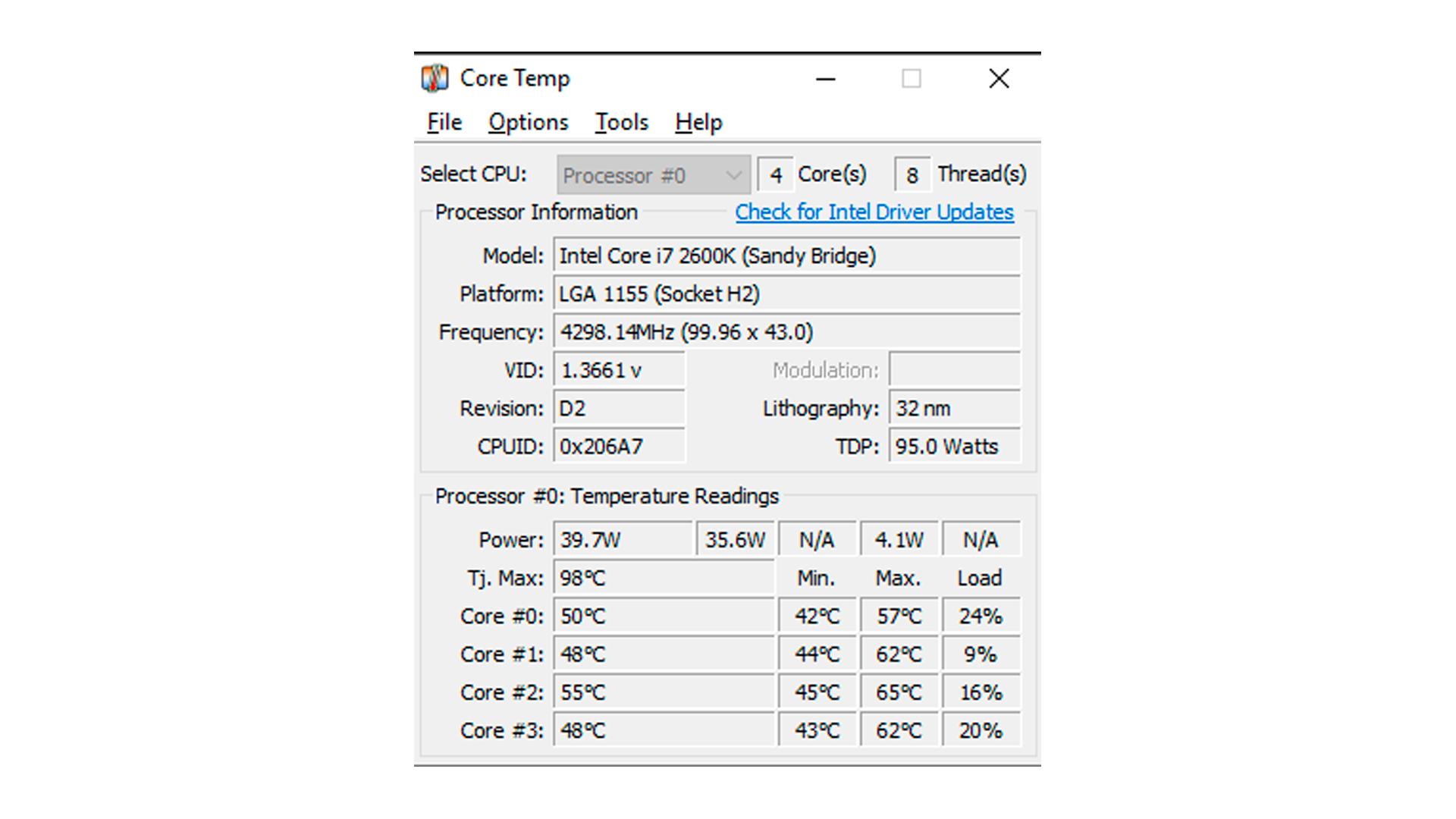 Interface do CoreTemp (Foto: Reprodução/CoreTemp)