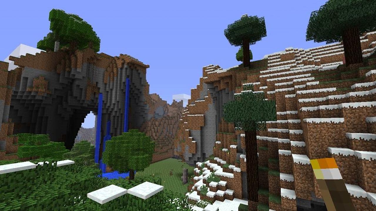 Ilustração mostrando montanhas e florestas feitos no Minecraft