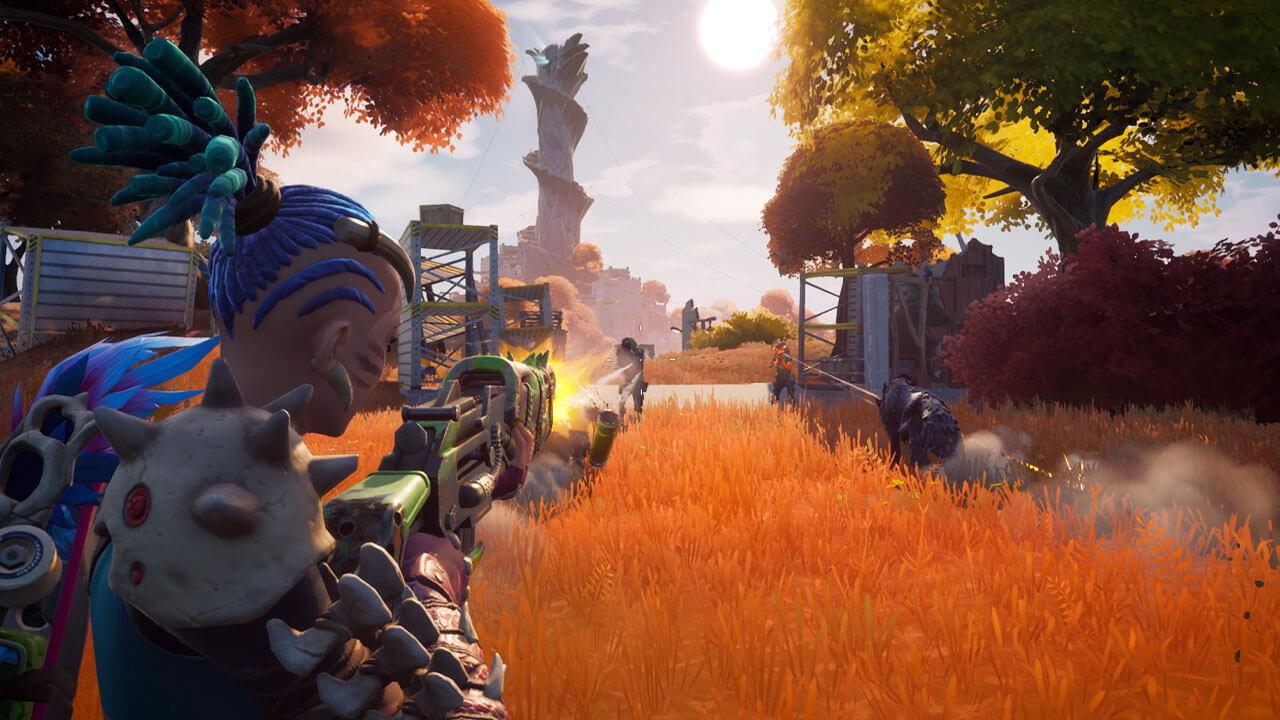 Personagem de Fortnite com armadura de osso e cabelo azul atirando em outros personagens com um fuzil de assalto em meio a um campo de folhas amarelas e um pináculo ao fundo