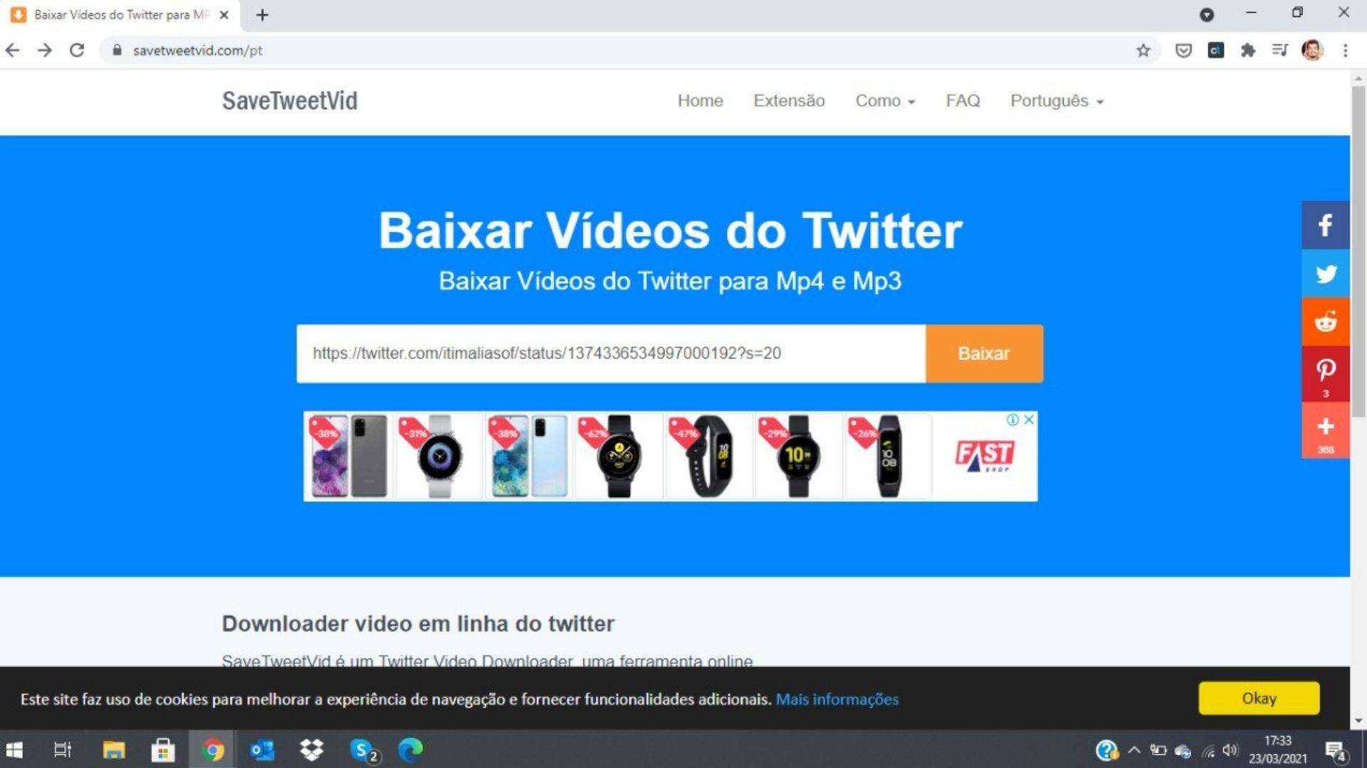 Como baixar vídeo do Twitter via PC: cole a URL do tweet no Save Tweet Vid e baixe (Foto: Reprodução / Zoom)
