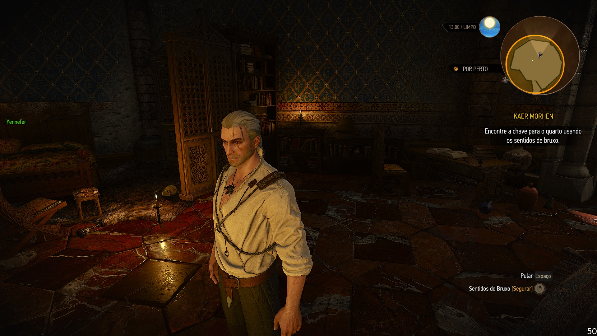 Mesmo na qualidade Ultra, The Witcher 3 chegou a rodar a 50 FPS, acima dos 34 prometidos pela Acer (Reprodução: Guilherme Toscano)