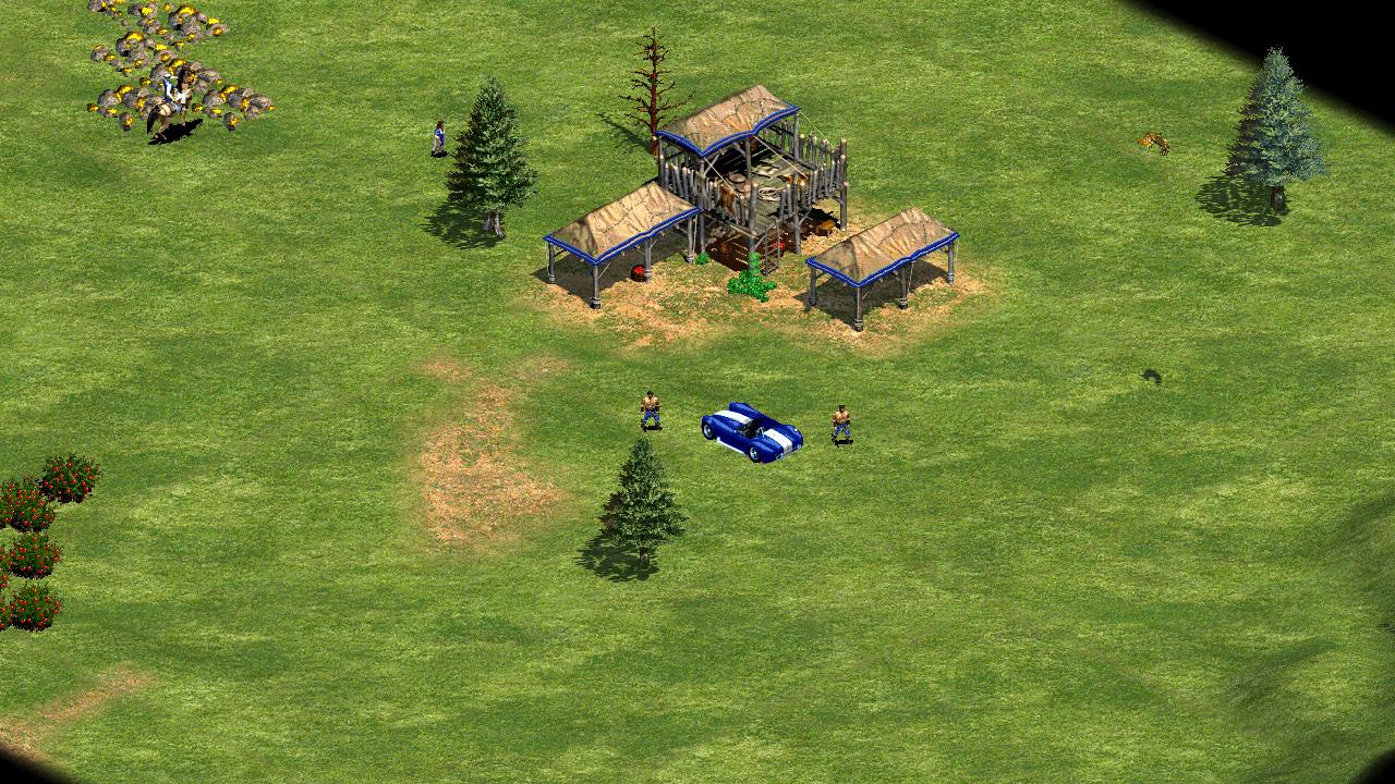Entre seus divertidos códigos, Age of Empires 2 permite criar um carro no meio de sua civilização medieval (Reprodução: Redação Zoom)