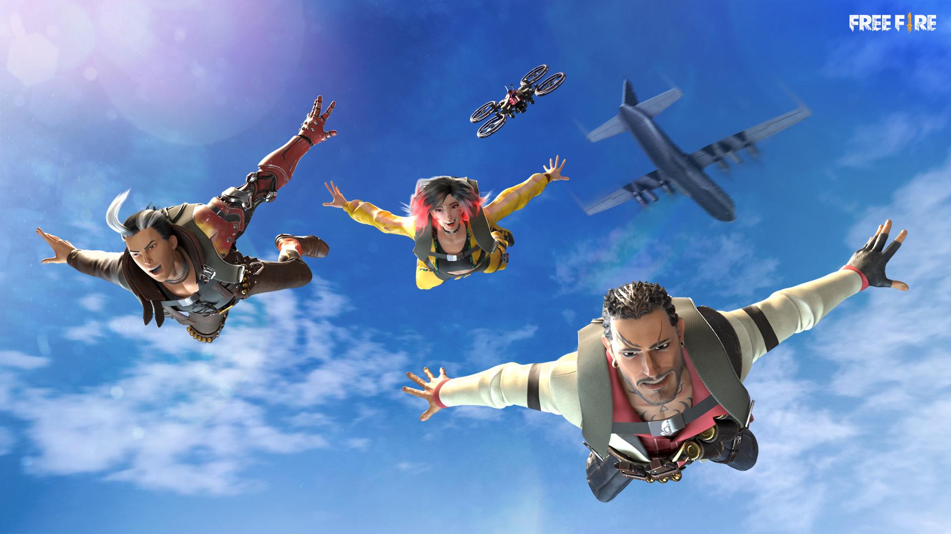 Ilustração de Free Fire com personagens pulando de um avião