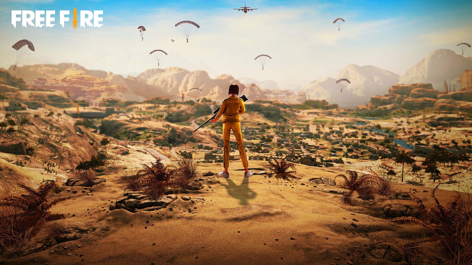Ilustração de Free FIre mostrando personagem com roupa amarela em deserto vendo vários personagens caindo de paraquedas ao longe