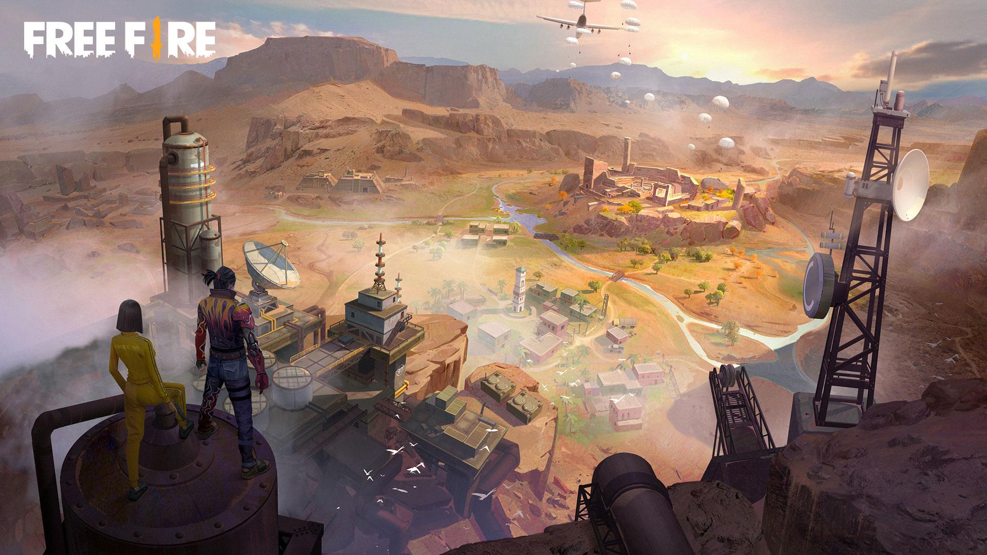Ilustração de Free Fire mostrando dois personagens em cima de uma estrutura de fábrica, olhando para a fábrica abaixo