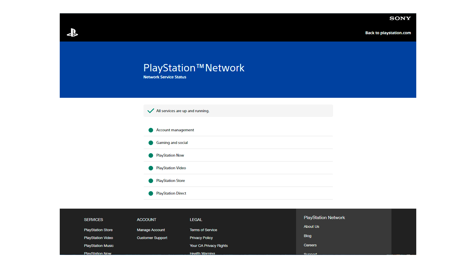 O site oficial para consultar o PSN status (Foto/Hugo Iwaasa)