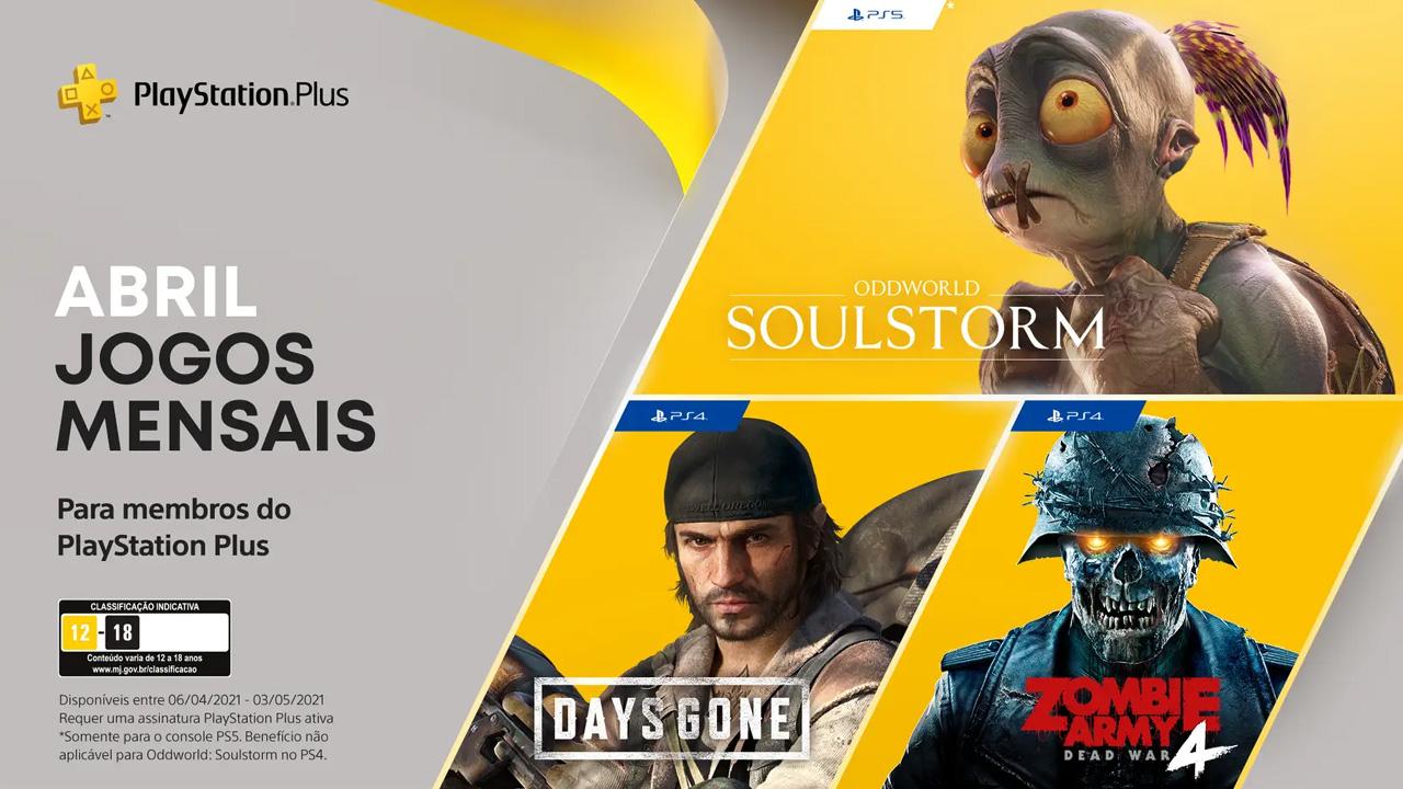 Oddworld: Soulstorm para PS5 acompanha Days Gone e Zombie Army 4: Dead War do PS4 entre os games grátis para assinantes da PS Plus (Reprodução: PlayStation Blog)