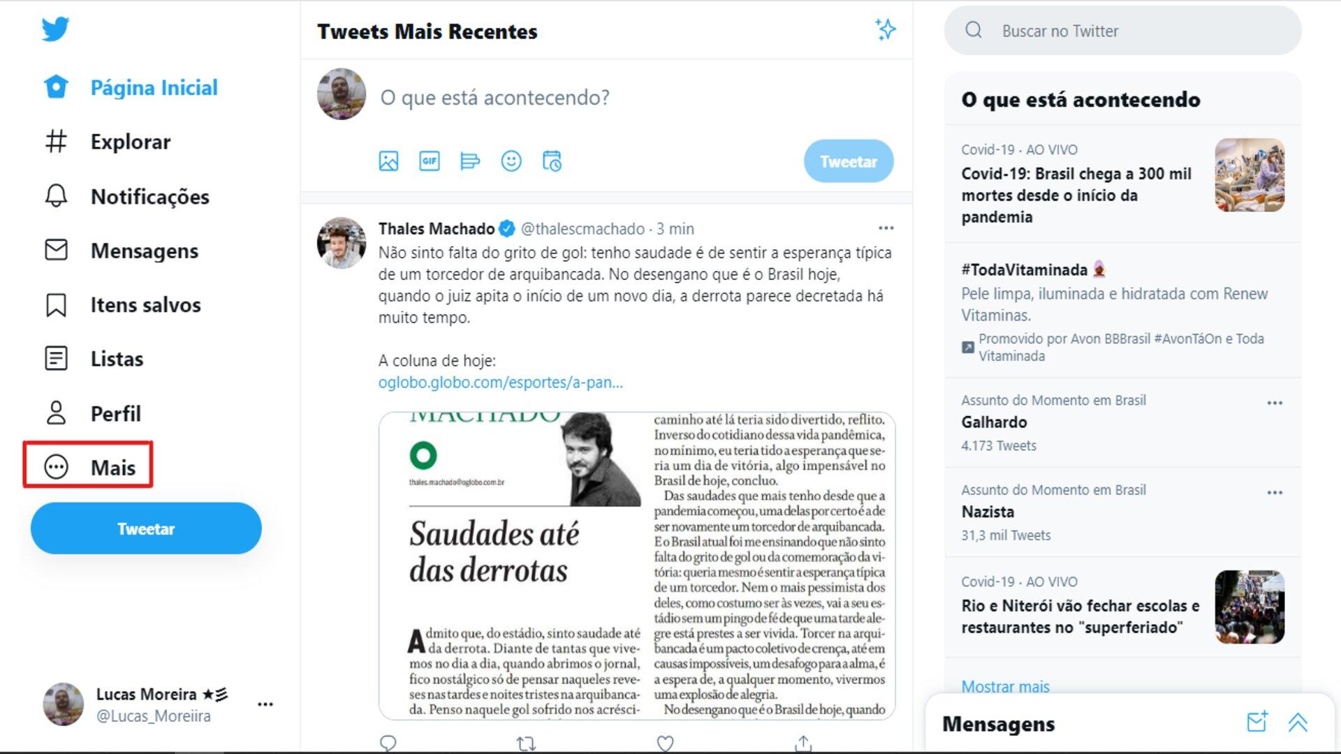 Como mudar o @ do Twitter: no Menu, clique em Mais.(Foto: Reprodução/Zoom)