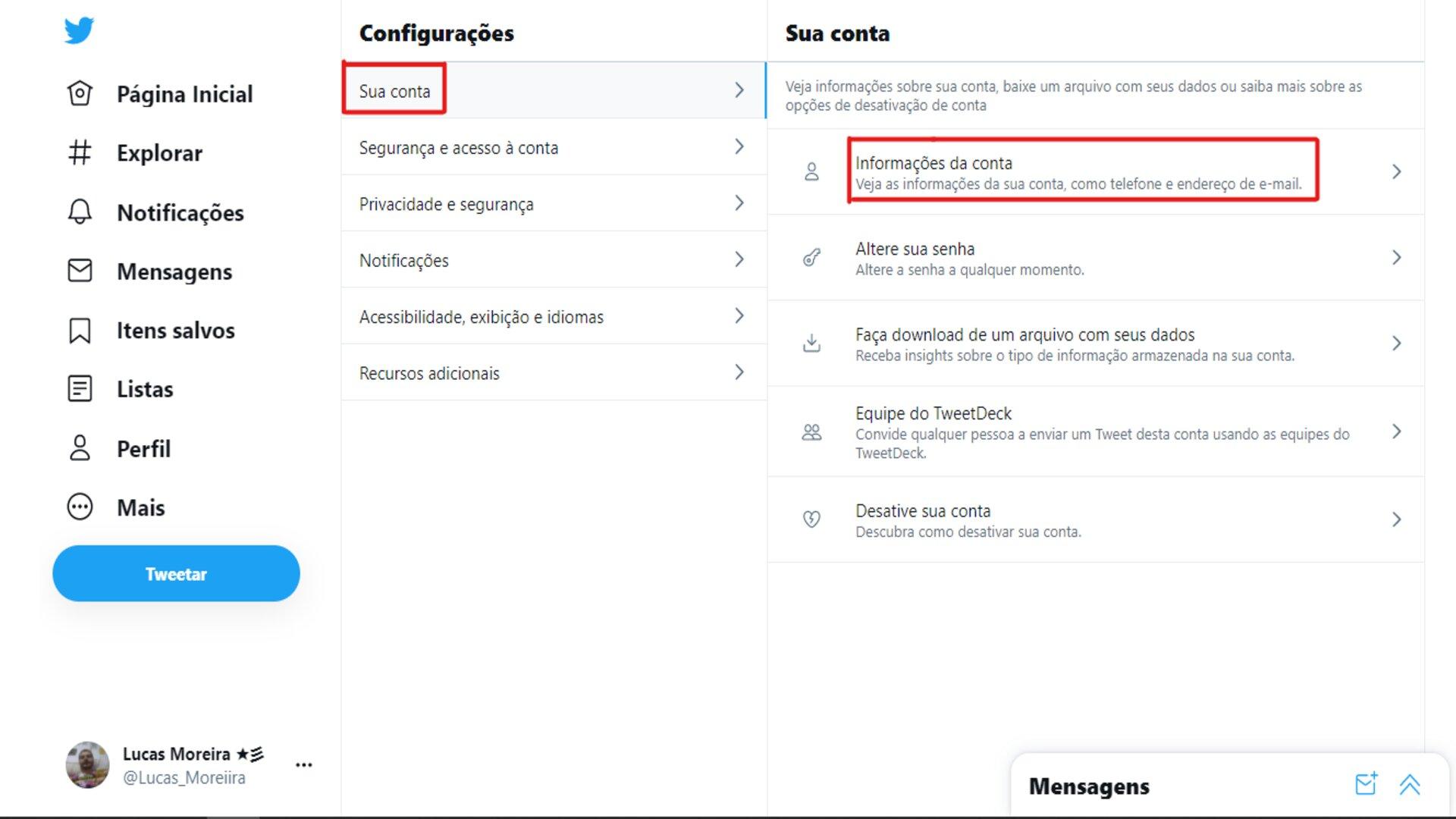 Como mudar o @ do Twitter: acesse Informações da conta em Sua conta. (Foto: Reprodução/Zoom)