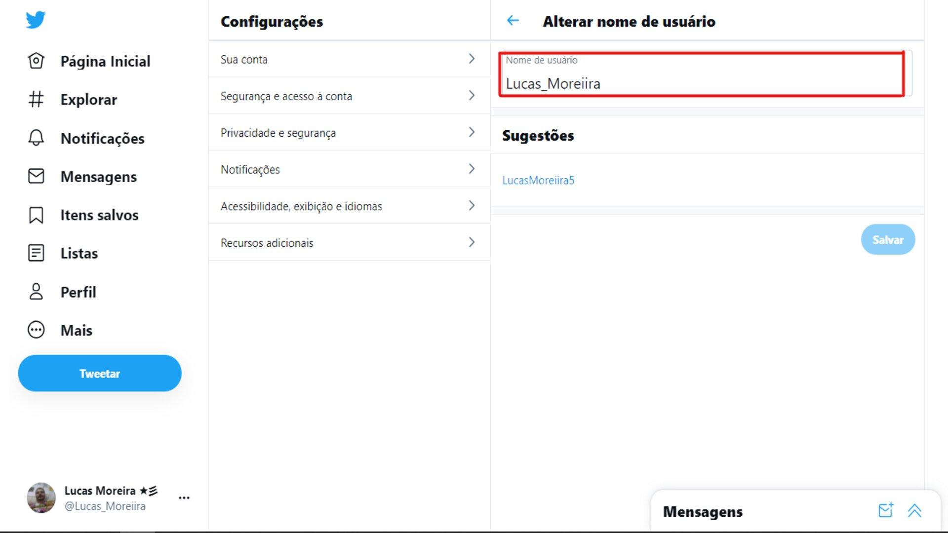 Como mudar o @ do Twitter: escolha um novo @ e clique em Salvar.(Foto: Reprodução/Zoom)