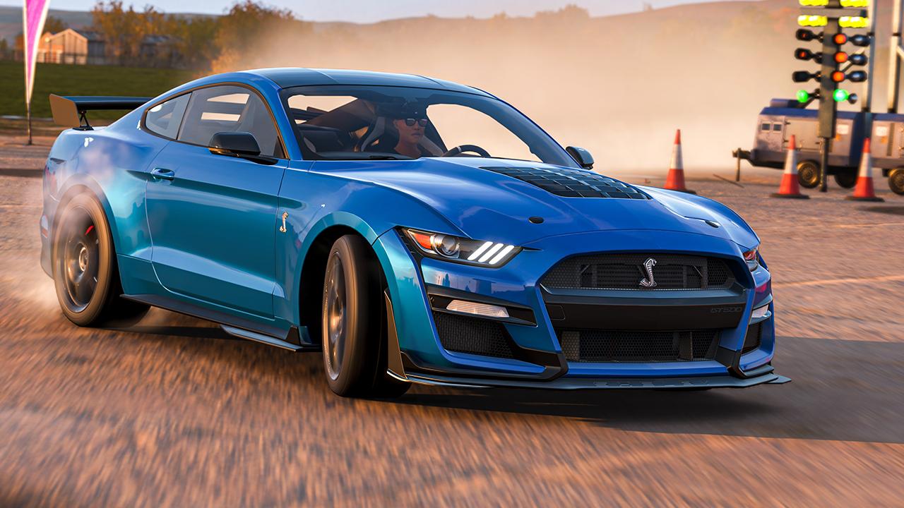 Carro azul de Forza Horizon 4 em close