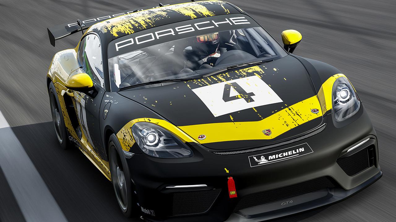 Carro preto com detalhes em amarelo de Forza Motorsport 7