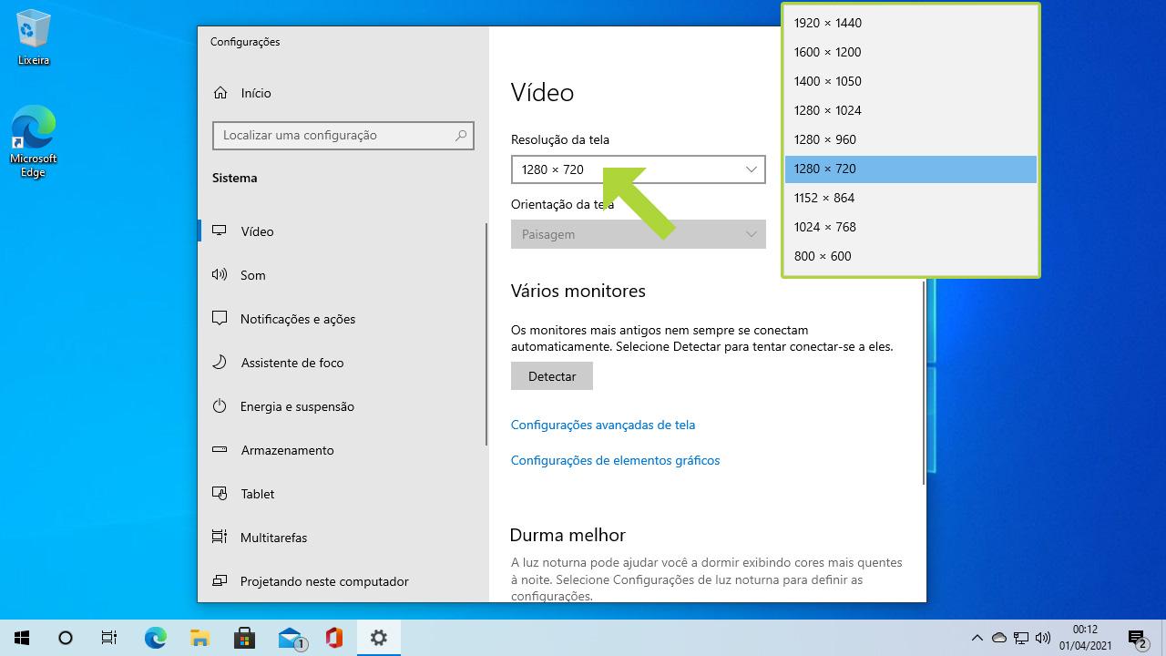 """Ao clicar em """"Resolução da tela"""" o usuário terá como ajustar a tela do PC com diferentes resoluções de acordo com seu monitor e placa de vídeo (Reprodução: Redação Zoom)"""