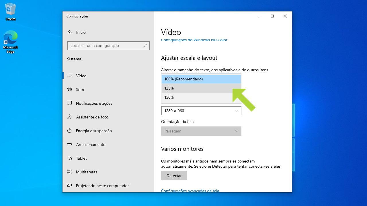 A configuração de escala e layout permite configurar como ajustar a tela do PC para ficar agradável a sua visão (Reprodução: Redação Zoom)