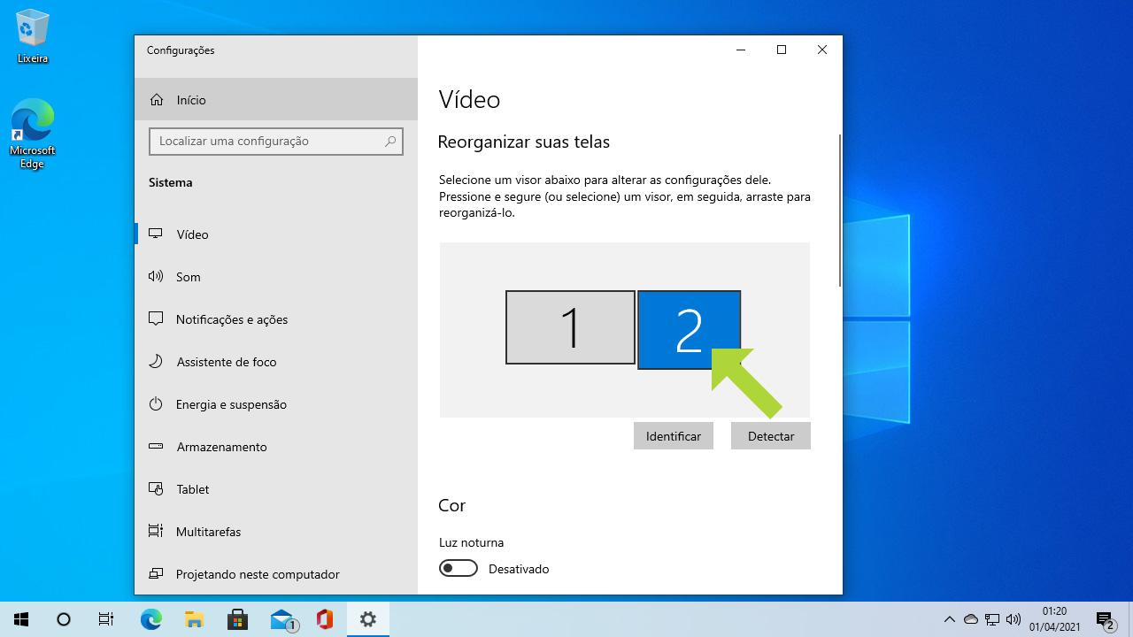 Tarefas como ajustar a tela do PC na TV são mais simples do que parecem. Basta selecionar o monitor 1 ou 2 para configurar. Normalmente a TV é o 2 (Reprodução: Redação Zoom)