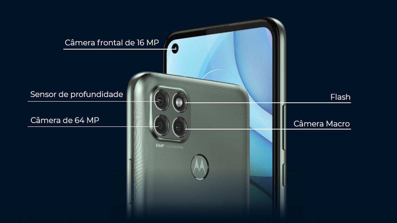 Conjunto de câmeras do Moto G9 Power. (Foto: Divulgação/Motorola)