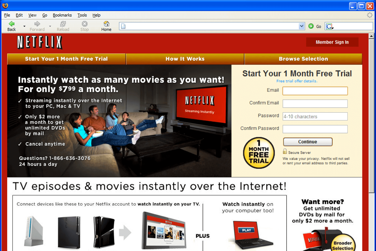 Plataforma da Netflix em 2007 (Foto: Reprodução/Netflix)