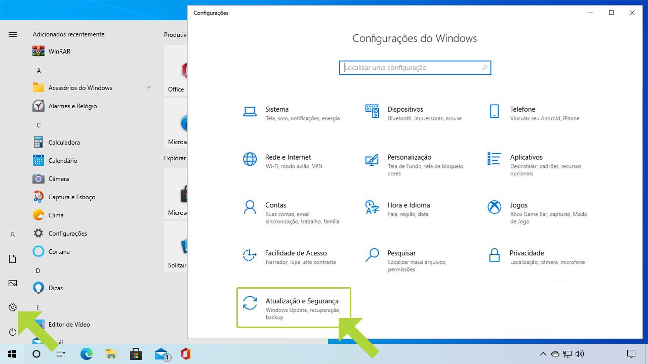 """Acesse as configurações do PC através do menu Iniciar e escolha """"Atualização e Segurança"""" para chegar ao menu onde terá como desativar Windows Update (Reprodução: Redação Zoom)"""