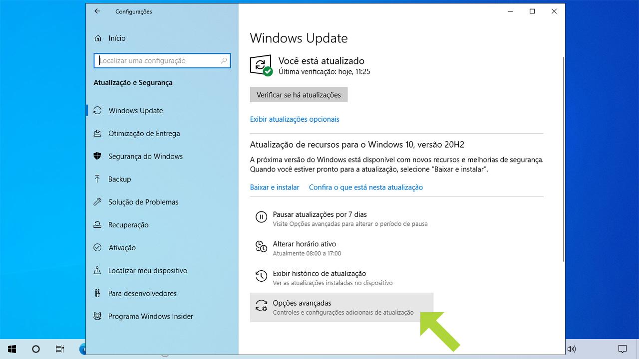 Escolha as opções avançadas para ter como desativar Windows Update por um período de tempo maior que 7 dias (Reprodução: Redação Zoom)