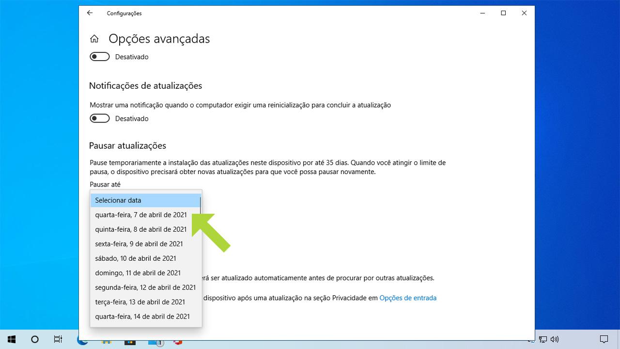 Essa opção permitirá pausar as atualizações temporariamente. Se quiser saber como desativar Windows Update permanentemente, confira os métodos abaixo (Reprodução: Redação Zoom)