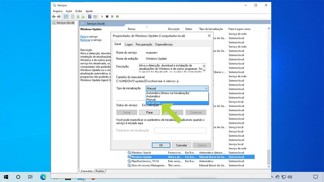 """Ao marcar o tipo de inicialização como """"Desativado"""" o serviço não será mais iniciado com o PC. Há ainda mais uma forma como desativar Windows Update logo abaixo (Reprodução: Redação Zoom)"""