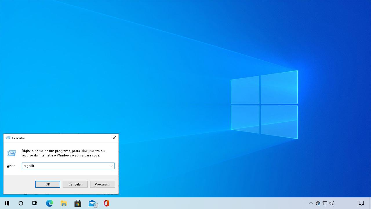 """Pressione Windows + R para abrir o menu executar e digite """"regedit"""" para ter como desativar Windows Update pelo Registro do Windows (Reprodução: Redação Zoom)"""