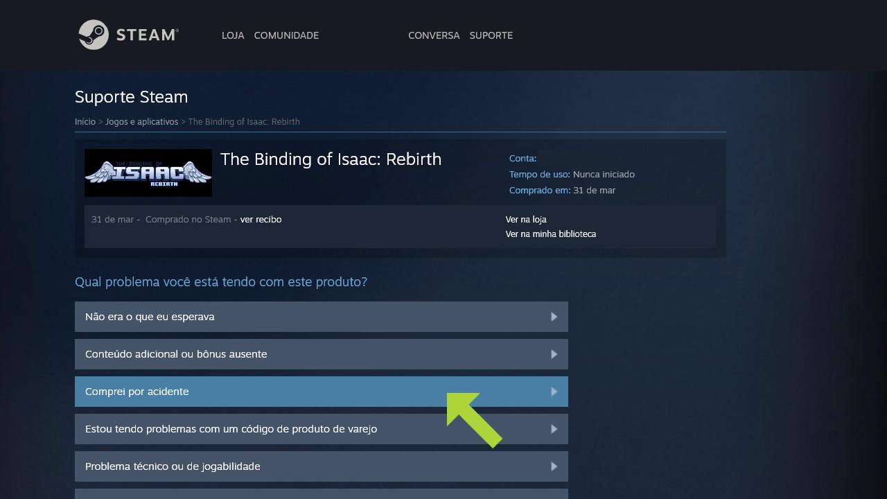 Selecione um motivo para a devolução e seja específico para o sistema analisar se há como pedir reembolso na Steam pelo game (Reprodução: Redação Zoom)