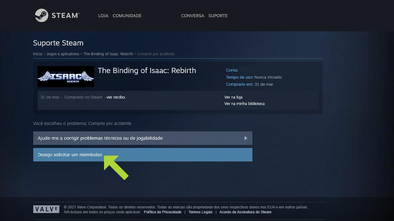 """Se houver a possibilidade de resolver problemas técnicos, veja a opção acima, mas se deseja saber como reembolsar um jogo na Steam, clique em """"Desejo solicitar um reembolso"""" (Reprodução: Redação Zoom)"""