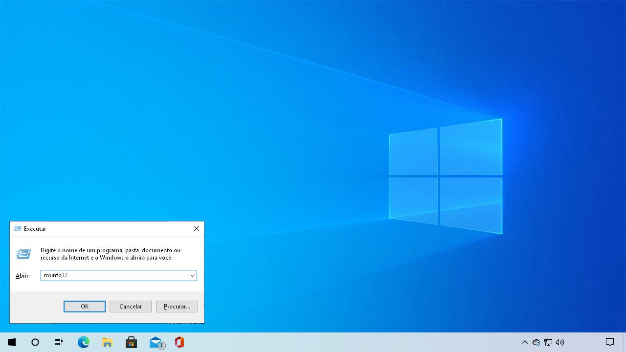 """Pressione Windows + R para abrir o menu executar e digite """"msinfo32"""" sem aspas para abrir as Informações do sistema (Reprodução: Redação Zoom)"""