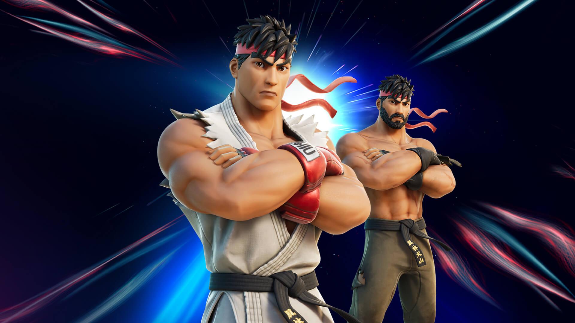 Ryu trocou os ringues de luta pela ilha de Fortnite (Foto: Epic Games).