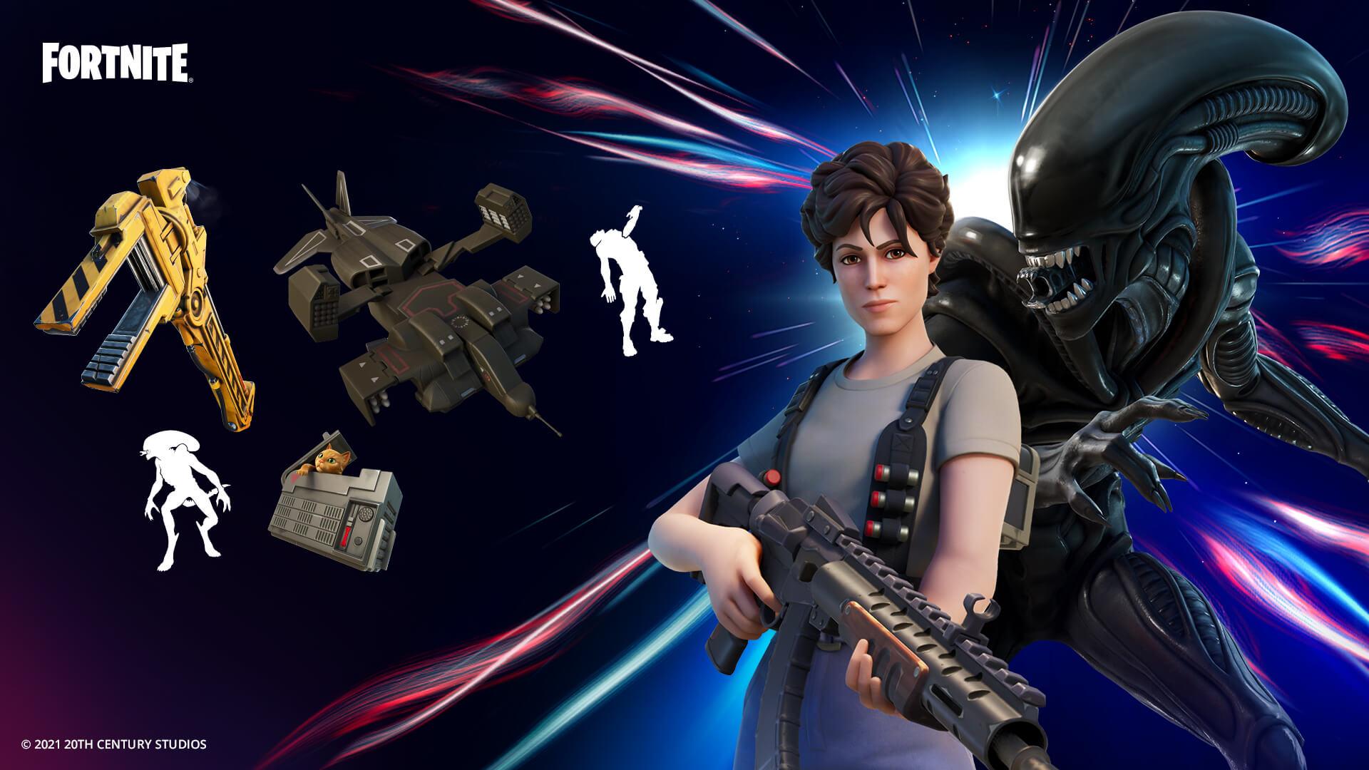 Troque a sobrevivência na nave pela ilha com as skins de Ripley e Xenomorfo do filme Alien. (Foto: Epic Games).
