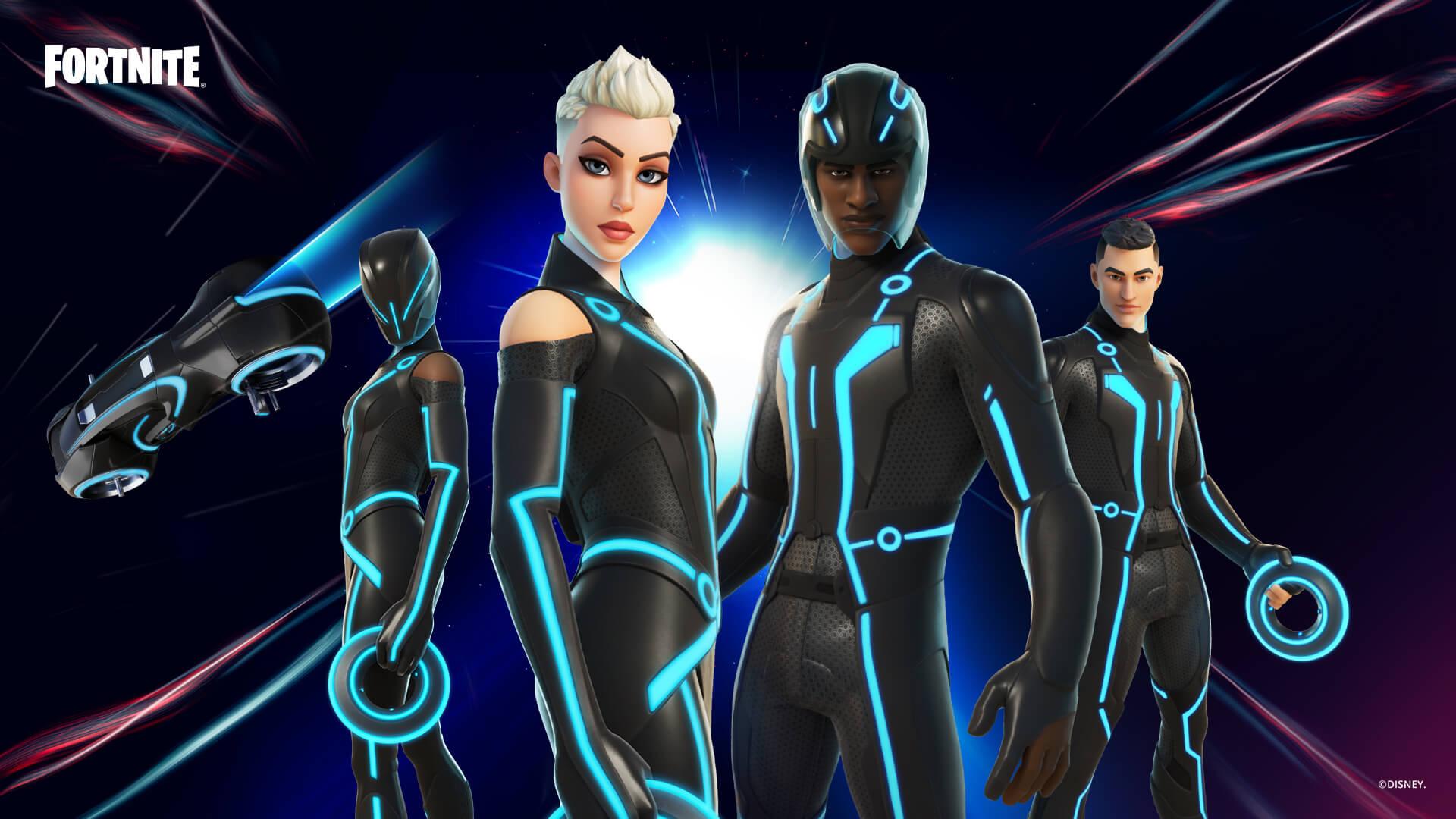 Use as skins do mundo digital de Tron para um visual futurista (Foto: Epic Games).