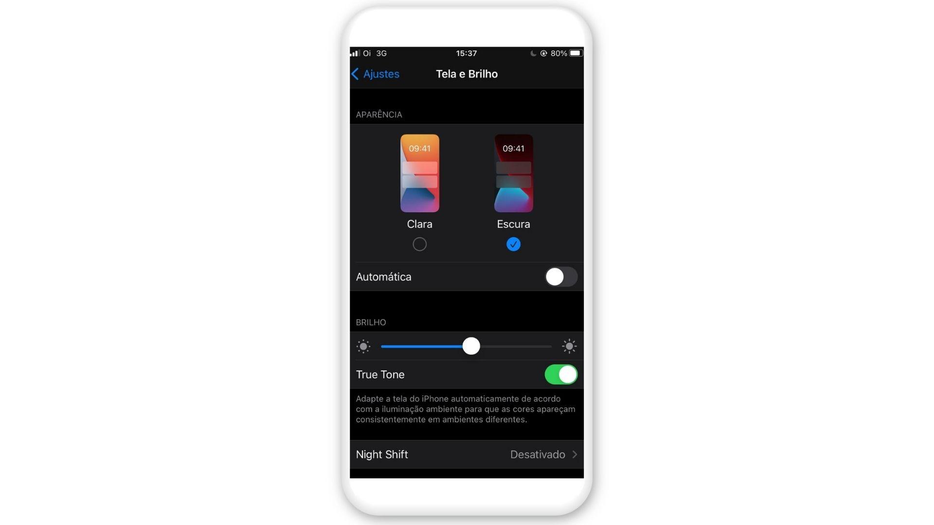 Print de tela mostrando como colocar o Google no modo escuro no iPhone