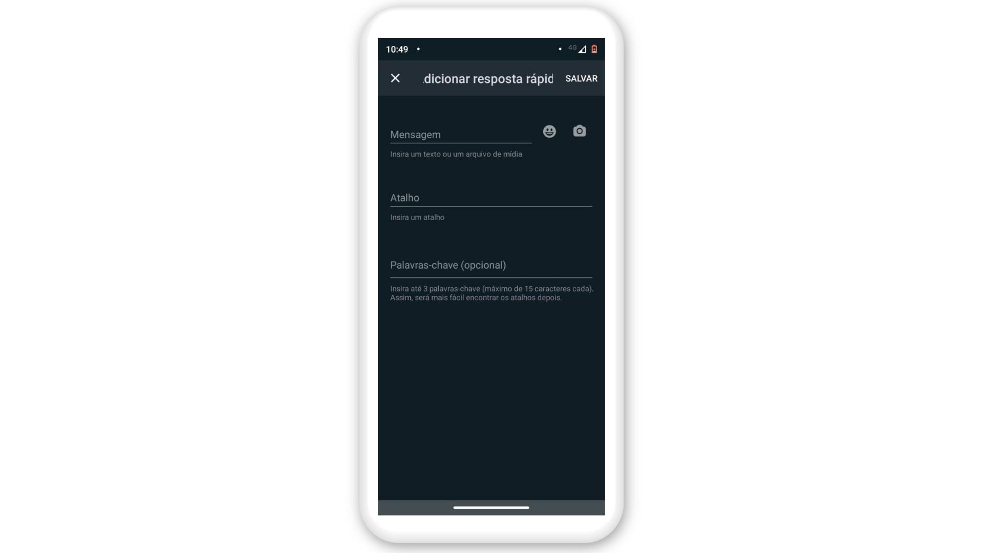 Mensagem automática WhatsApp: digite a resposta rápida, escolha o atalho e clique em salvar (Foto: Arte / Zoom)