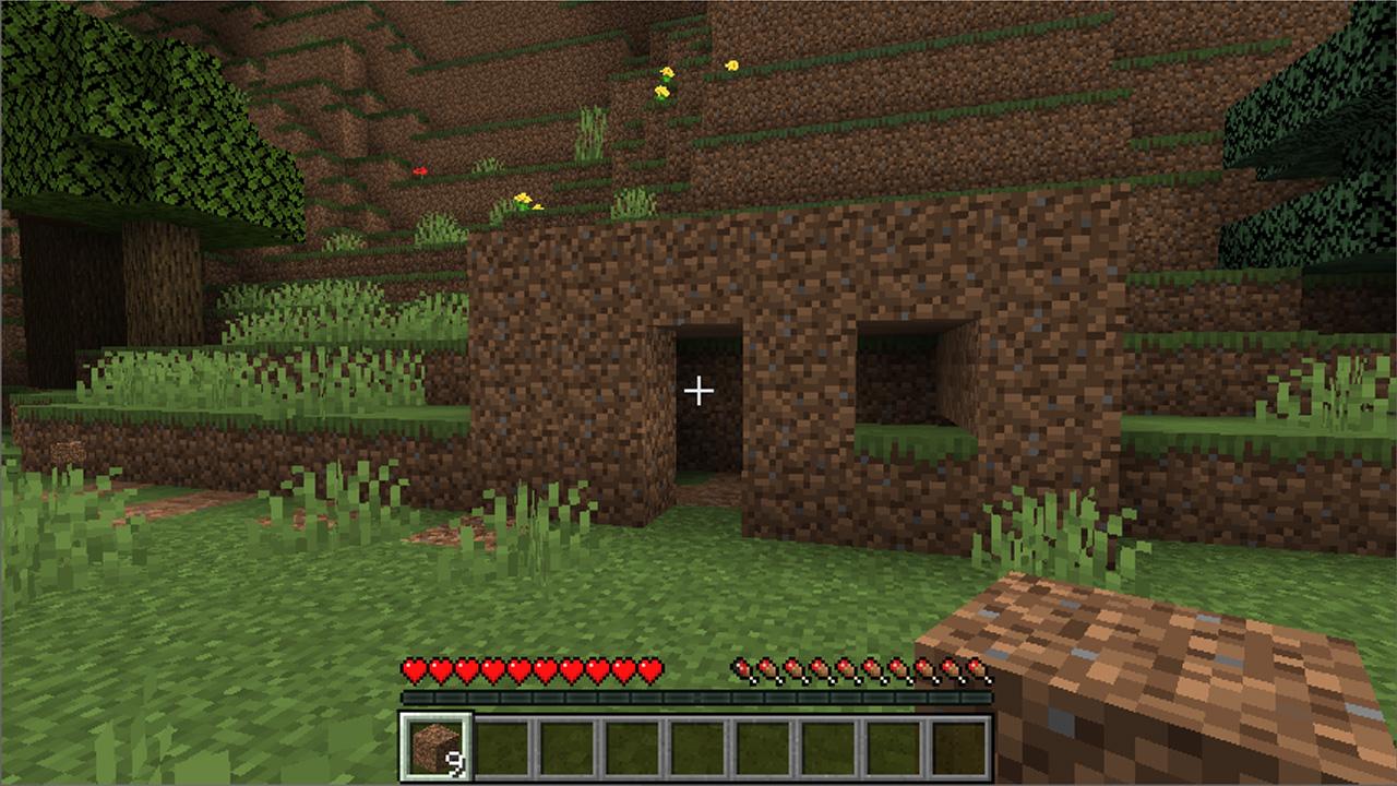 Um primeiro abrigo de terra é algo que reúne usuários de todo mundo enquanto aprendem a como jogar Minecraft (Reprodução: Redação Zoom)