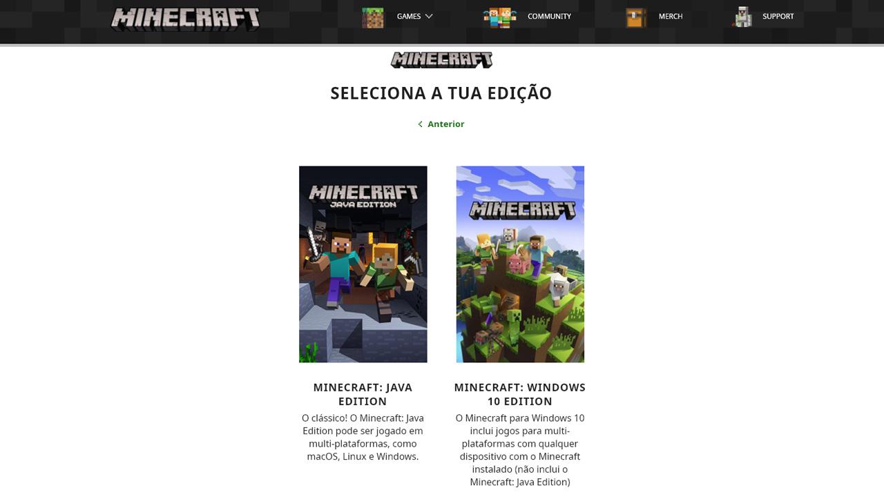 No site oficial de Minecraft é possível escolher entre Minecraft: Java Edition ou a Windows 10 Edition e isso determina como jogar Minecraft com um amigo (Reprodução: Redação Zoom)