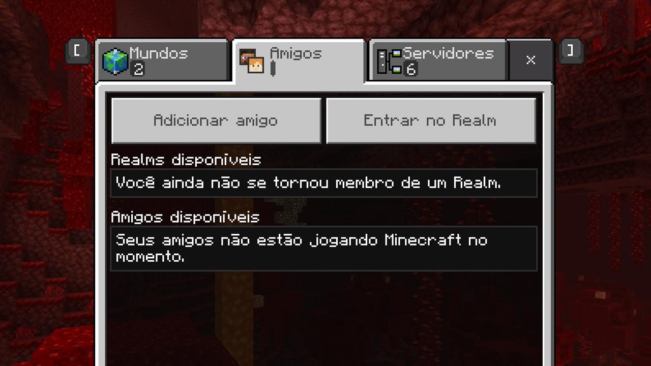 """Em Minecraft: Windows 10 Edition, sempre que seus amigos estiverem jogando eles aparecerão na aba """"Amigos"""" e você poderá se juntar a eles (Reprodução: Redação Zoom)"""